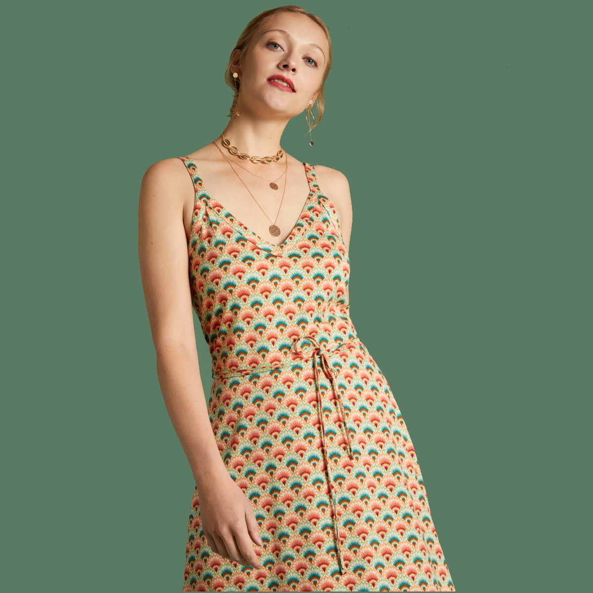 King Louie Kleid Isa Dress Carmel, Farbe Pearly Dew   Grösse M